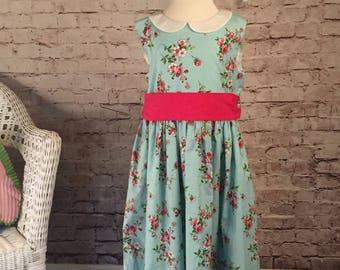 Little Girl Dress //Floral Dress Size 7/8 // Tea Party Dress // Gift for Girl // Family Photos // Church Dress