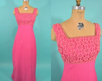 1960s maxi dress | hot pink embroidered bodice evening maxi dress | vintage 60s dress | W 28""