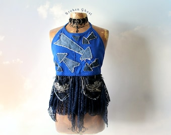 Rustic Denim Women's Halter Top Unique Clothes Bohemian Tank Blue Boho Shirt Summer Festival Sexy Top Gypsy Clothing Frayed Shirt M 'BROOKE'