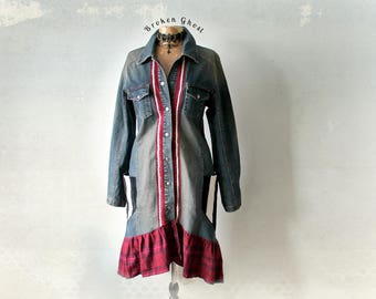 Long Denim Coat Bohemian Upcycled Fitted Trench Union Jack Boho Jean Jacket Women's Clothing Rustic Country Fall Coat Mid Length L 'AUBREY'