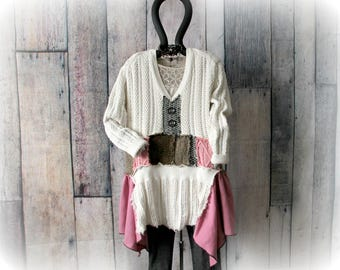 Plus Size Sweater Boho Chic Mori Clothing Cream Layered Top Romantic Tunic Patchwork Sweater Bohemian Clothes V-Neck Jumper 1X 2X 'HANNAH'