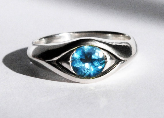 Large Sterling Silver and Blue Topaz Eye Ring