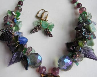 Glass Flower Beaded Necklace Made With Vintage Beads