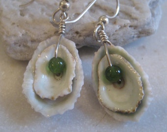 Limpit shell and jade sterling earrings