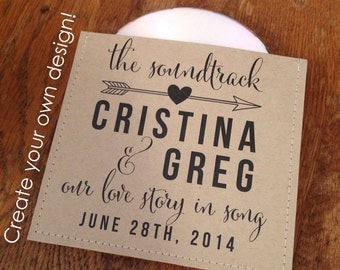 Personalized cd sleeve wedding favor PRINT ANYTHING {pack of 90}