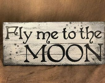Fly me to the Moon - rustic pallet canvas board