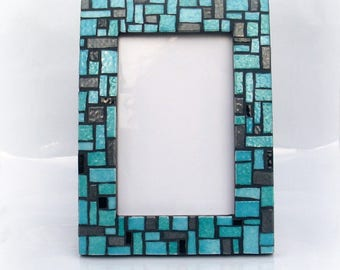 Turquoise mosaic picture frame