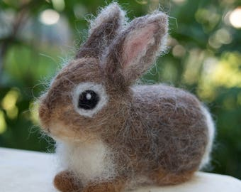 Needle Felted Bunny Cottontail Rabbit Baby Young Woodland Animal