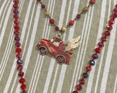 Vintage Truck Pendant with Wings, Red Flying Truck Pendant, Red Junk Truck Pendant, Gone Junkin Gypsy, Handmade Junk, Ethel, Dry Gulch #2258