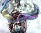 Catholic Virgin Mary OL Lourdes, Angel Religious Handmade Sari Silk Handmade Necklace, Collar Catolico Virgen Maria