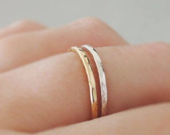 Set of 2 Stacking Rings one Thin Gold Ring and one Silver Ring hammered stackable rings mixed metal minimalist ring set