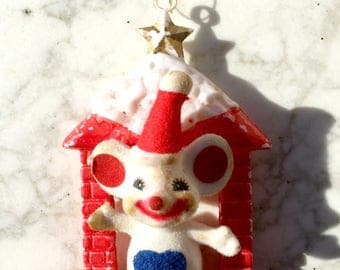 Christmas, Mouse, Ornament, Vintage, Mouse and house