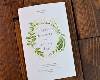 Greenery Folded Wedding Programs - Digital File Only - Jewish or Catholic Ceremony Order of Service