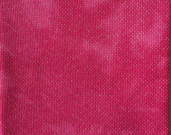 Hand Dyed Sparkly Aida Fabric - 18 Count Bollywood Pink