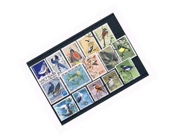 Beautiful Bird Postage Stamps | China & Hong Kong Stamps - magpie, lovebirds, eagle, garden birds | craft collage decoupage upcycle collect