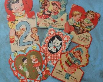 Vintage Valentine Cards Children Cat Baking Instruments