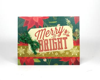 Merry and Bright, Christmas card, handmade, Holiday card, Xmas card, Christmas cards, Holiday cards