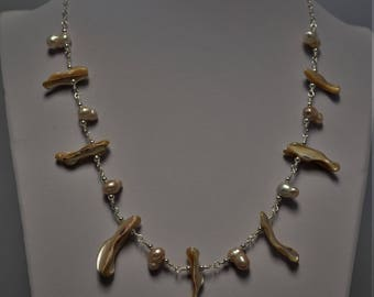 Shell and Freshwater Pearl Bib Necklace