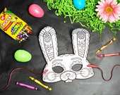 Easter Bunny Printable coloring mask kids cute color activity mask Rabbit mask fun coloring page craft DIY print at home instant download