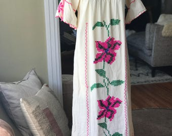 Embroidered Mexican Maxi Dress