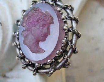 Antique amethyst cameo pendant, Victorian cameo pendant, purple cameo pendant, amethyst and silver cameo pendant, gemstone cameo pendant