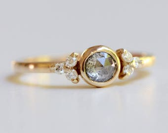 Salt and Pepper Diamond Ring with Floral Insprired Accent Diamonds in Prong Settings - Boho Engagement Ring - Vintage Inspired
