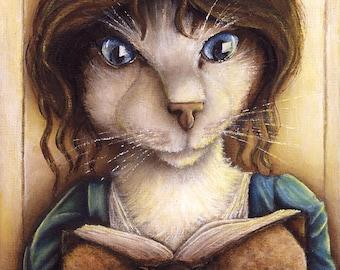 Lizzy Bennet Cat, Pride and Prejudice Cat Art 8x10 Archival Print