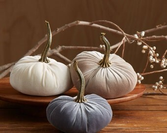 Scented Velvet Pumpkins, SET of 3:  Gray, Ivory, Taupe