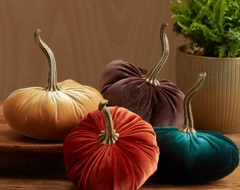 Scented Velvet Pumpkins, SET of 4:  rust, mustard, dark green, rich brown
