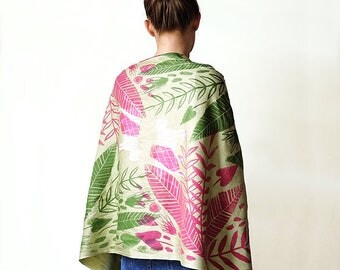 Limited Edition Rainforest Hand Printed Cat Scarf