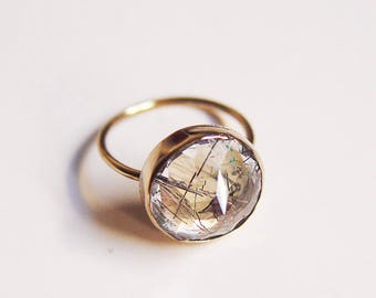 Tourmilated Quartz Point Gold Ring Rose Cut OOAK