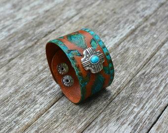 Tooled Leather Cuff Bracelet, Southwestern Bracelet, Cowgirl Bracelet, Cowboy Bracelet, Western Bracelet, Boho Bracelet, Tooled Leather