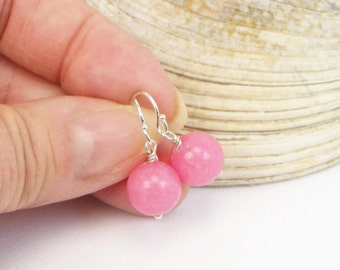 Morganite Earrings - Sterling Silver - Gemstone Earrings - Pink Stones - Beaded Earrings - Gift For Her