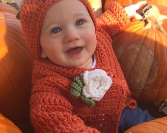 Pumpkin Baby Hat, Baby Girl Pumpkin Fall Hat, Newborn Pumpkin Hat, Crochet Pumpkin Hat, First Thanksgiving, Fall Baby Shower Gift