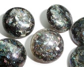 Glitter Vintage Buttons - 6 Sparkly Plastic 5/8 inch 15mm for Sewing Knitting Jewelry Supplies Beads