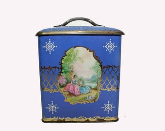 Vintage Blue Tin, Tin Box, Tin With Handle, Tin Canister, 1960's Tin, Storage Container, Candy Tin, Kitchen Canister, Display Tin