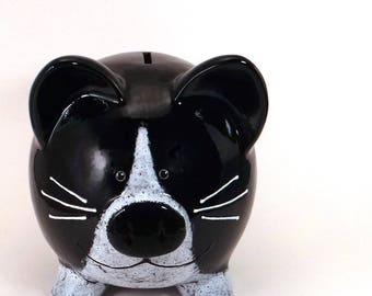 Black and White Kitty Piggy Bank - Personalized Piggy Bank - Kitty Cat Bank - Cat Lovers Bank Kitten Bank - with hole or NO hole in bottom