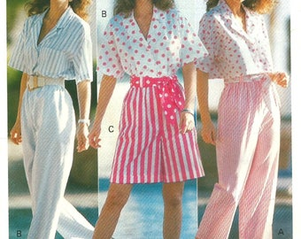 Vintage 80s Butterick 4109 UNCUT Misses Cropped Top, Cropped Pants and Cuffed Shorts Sewing Pattern Size 6-10 Bust 30.5-32.5