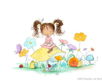 The Storybook Garden - Brunette Girl with Curly Hair - Art Print