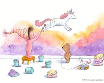 Painting Unicorns- Toddler Girl Painting Unicorn - Art Print - Nursery
