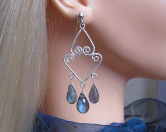 Labradorite Chandelier Earrings- Inspired by Charlize Theron in The Huntsman- Silver, Metalwork