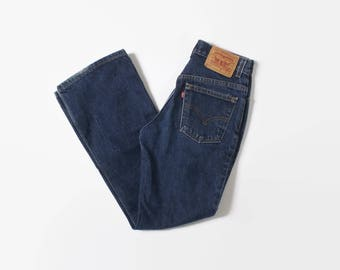 Vintage 90s LEVI'S JEANS / 1990s High Waisted Dark Blue Fitted Boot Cut 517s XS