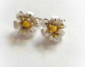 Vintage Lisner Flower Earrings White and Yellow Enamel Rhinestones Clip On