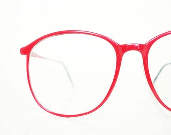 Vintage 1980s Red Eyeglasses Womens Round Oversized Glasses Carbon Fibre Optical Frames 80s Eighties Crimson Bright Colorful