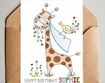 Personalised Giraffe Birthday Card Name