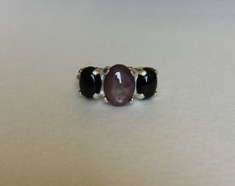 Natural Star RUBY and onyx ring in sterling silver