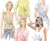 Vogue V7876 UNCUT Wrap Around Blouse with Side Tie Sewing Pattern Miss !2 14 16 Sleeveless Top