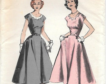 Butterick 6627 UNCUT 1950s Soft Casual Scalloped Neck Dress Vintage Sewing Pattern Size 16