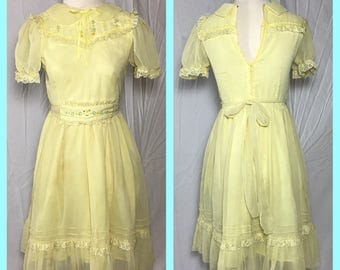 1960s Junior Girl's Chiffon over Cotton Party Dress by Children Boutique - Size 3 5