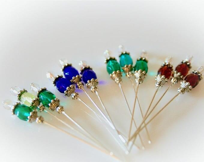 Set of Three Jewel Tone Stickpins. Three Color Choices. Hatpins. Crafting Pins. Scrapbooking Supply.